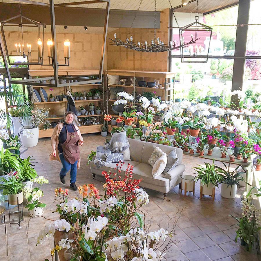 upper showroom in flower shop in greenwich